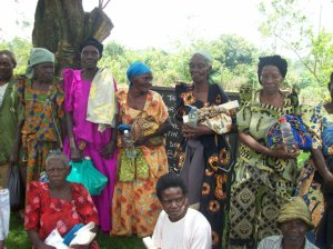 The elderly and other disadvantaged people with their received aid items donated by Blue Bonnet Hills Christian Church