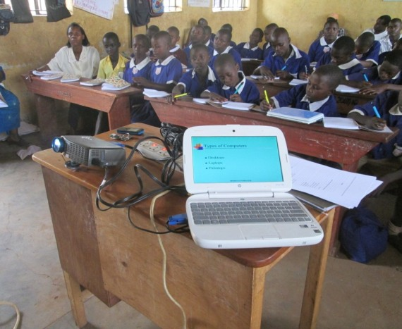 Pupils of Kikandwa C/U Primary attend their first computer Lesson