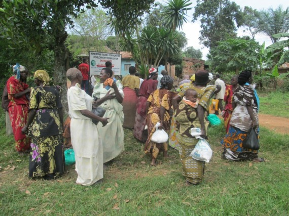 Some of the elderly people who benefited from yesterday's humanitarian assistance